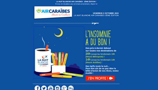Nuit Blanche Air Caraibes : offre promo