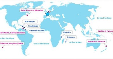 Carte des départements et territoires Outre mer