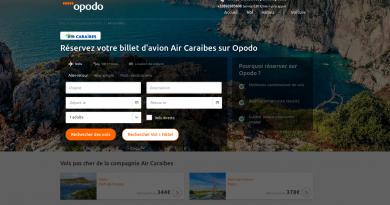 Accueil Opodo : rubrique Air Caraibes