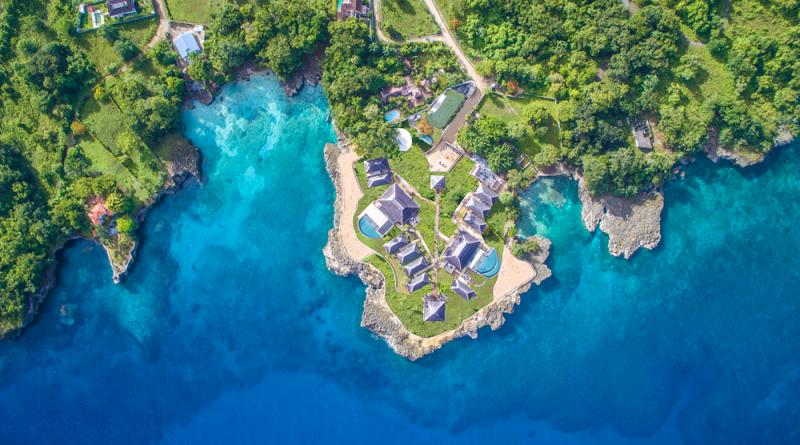 Paysage Caraïbes, vue aérienne de la plage