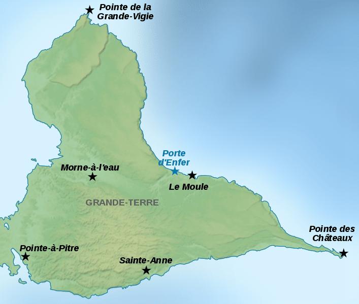Carte de la Grande Terre en Guadeloupe : ce qu'il faut faire et visiter