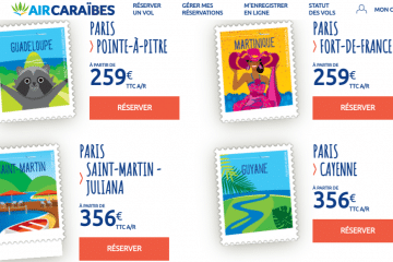 Nuit Blanche Air Caraibes : promo billet avion Guadeloupe, Martinique