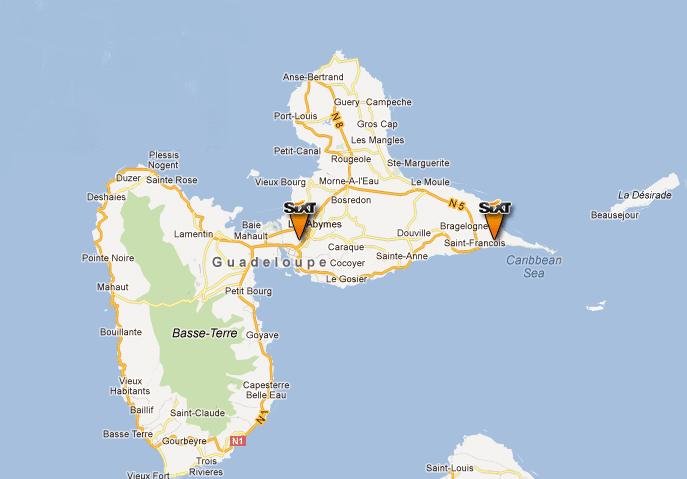 Carte de la localisation des agences Sixt en Guadeloupe. Agence à l'aéroport de Pointe-a-Pitre , Pôle Caraïbes et à Saint-François.