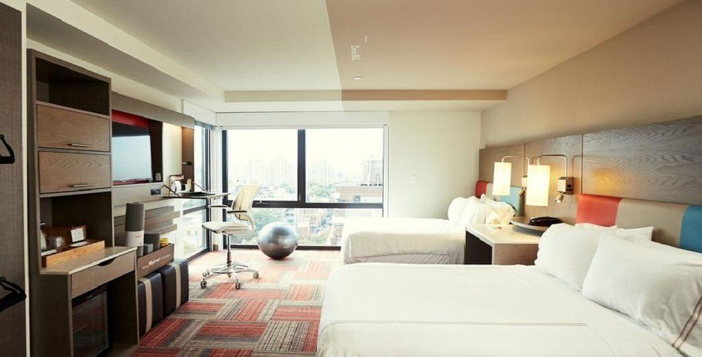 Even Hôtel Brooklyn : chambre spacieuse avec vue sur la ville de New York