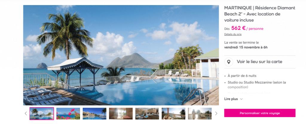 Séjour Martinique avec location voiture incluse : vente privée Veepee
