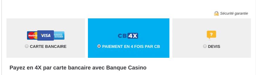 Paiement en plusieurs fois : facilité de paiement avec CB en 4 fois .
