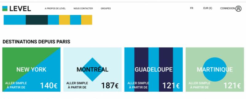 Billet d'avion discount Level : Offre promotionnelle pour des vols Antilles, New York , Boston
