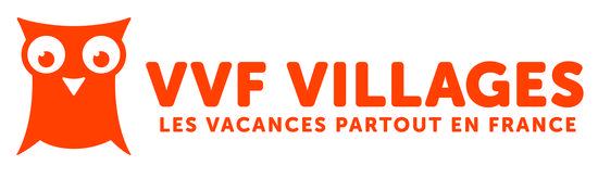 Banniere vvvf village. Logo orange avec hibou : les vacances partout en France.