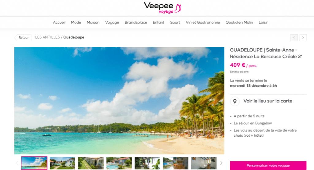 Vente privée : séjour en Guadeloupe dans un gîte à Sainte Anne. Offre promotionnelle Veepee à la Résidence la Berceuse Créole 2 étoiles. Séjour de 7 jours et 5 nuits 409€ /personnes.