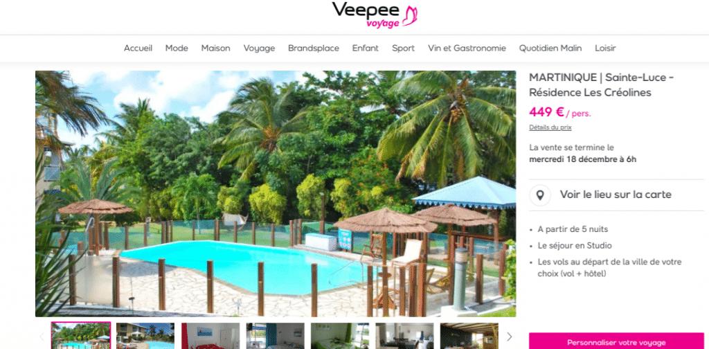 Voyage Martinique pas cher : 449€ avec la vente privée Veepee. Séjour à Sainte Luce d'une semaine dans la résidence Créoline avec piscine privée extérieure et carber.