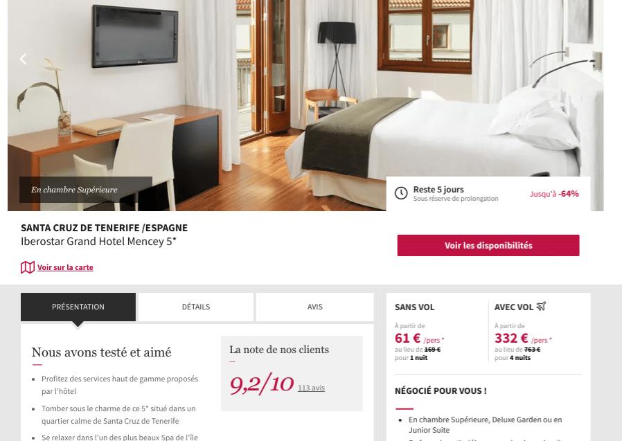 Chambrede luxe garden dde l'hotel Iberostar Grand Hôtel Mencey 5 étoiles à Santa Cruz de Tenerife aux îles Canaries. Belle chambre avec lit double bureau et écran plat sur le mur.