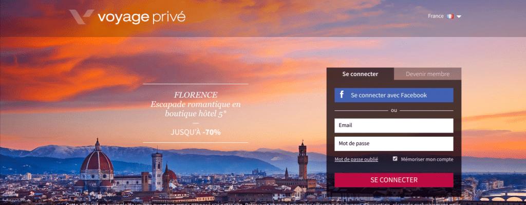 Page d'accueil du site de vente privée Voyage privé . Page d'inscription où il faut ajouter son email , mot de passe + se connecter à Facebook pour creer son compte.