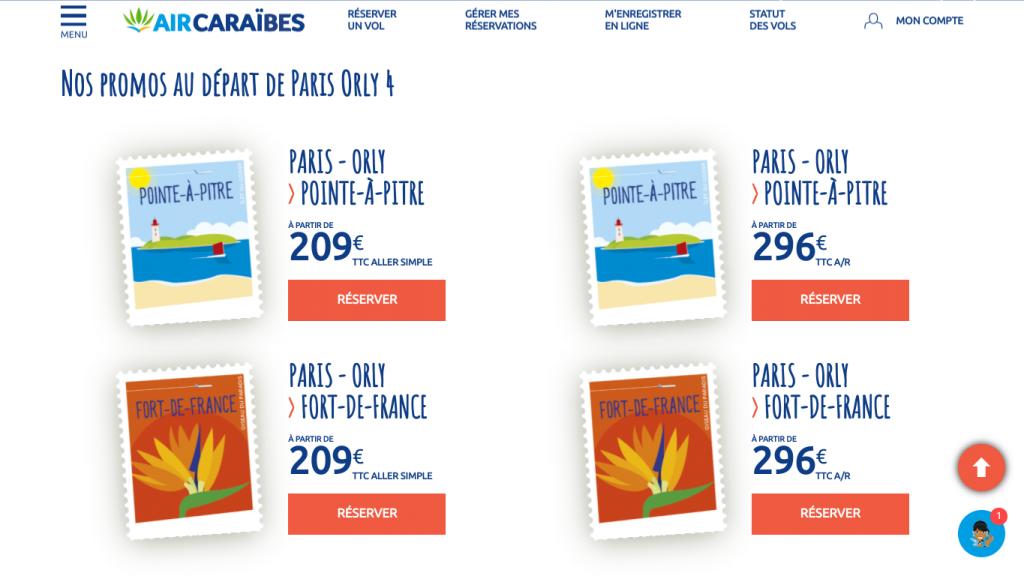Offre promo Black Friday Air Caraibes pour des vols au départ de Paris Orly vers les Antilles ( Guadeloupe, Martinique , Saint Martin, Cuba, République dominicaine) et la Guyane.  Tarifs  pour des billets d'avion aler simple et aller retour à partir de 206 euros.