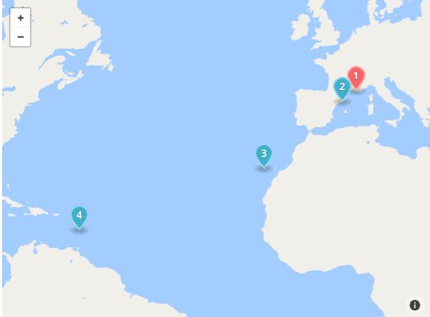 Carte du trajet de la Croisière Costa. Départ de Marseille, puis escale à Barcelone en Espagne,, puis arrivée aux îles Canaries. Apres une longue traversée de l'océan Atlantique arrivée en Martinique, îles des Antilles françaises, dans l'arc des Caraïbes.