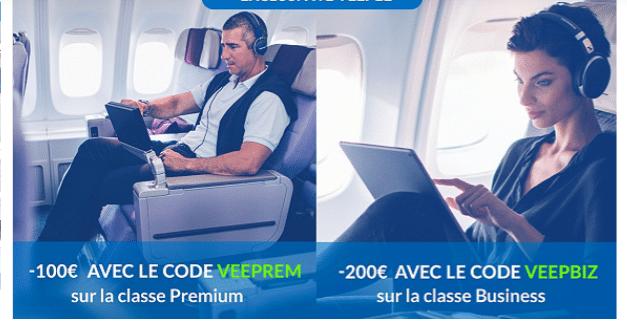 Code promo Crazy Soldes 2020 pour un surclassement en classe premium et classe Business. Réduction de 100 à 200 euros.
