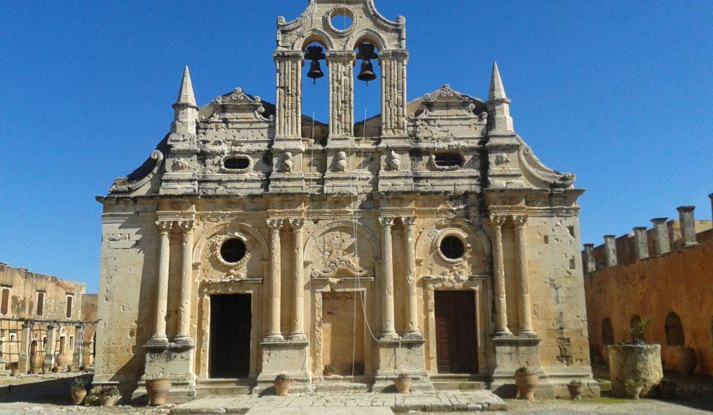 Monastere d'Arkadi en Crète . Monument ancienne du patrimoine en grecque .