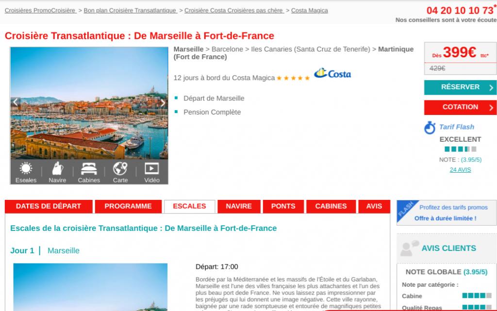 Vente flash Costa Croisière pour un séjour transtalantique à bord du Costa Magica