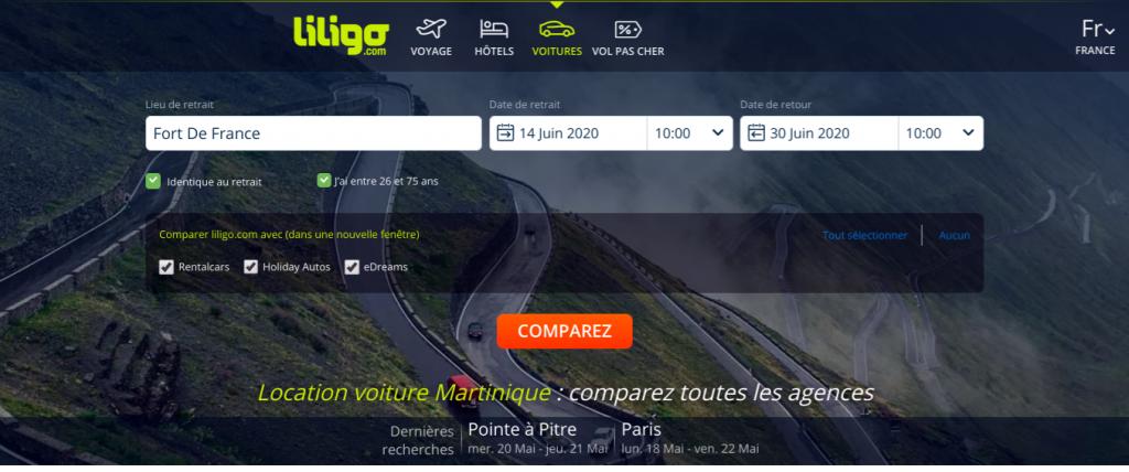 Page d'accueil du comparateur de prix Liligo pour la location de voiture pas chère en Martinique.