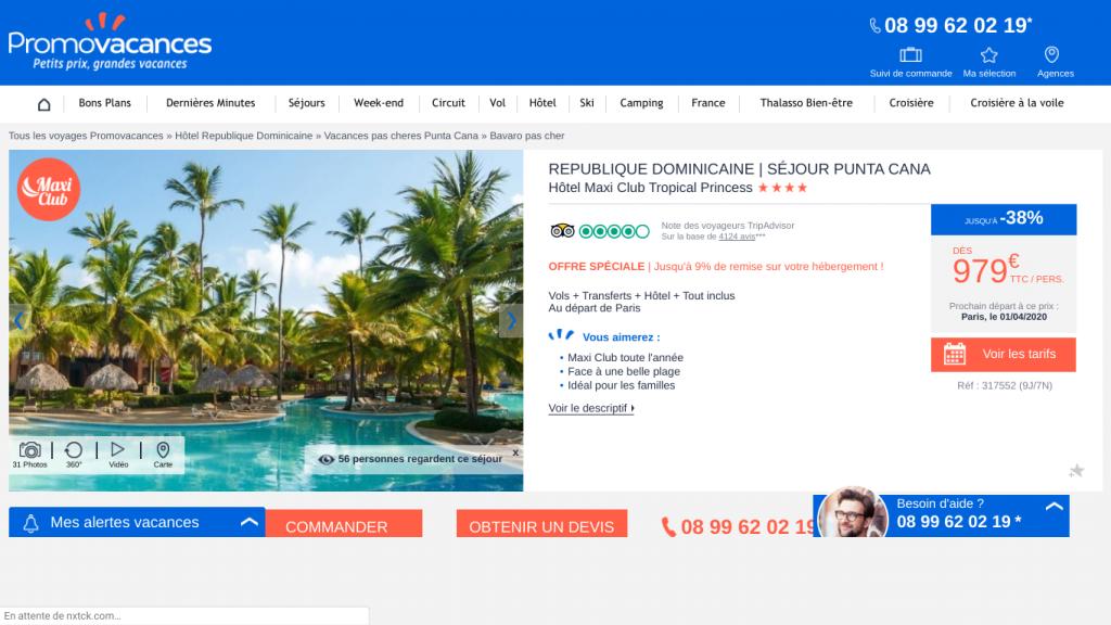 Séjours tout compris pas cher en république dominicaine. Offre promo pour un voyage de 9 jours et 7 nuits. Séjour d'une semaine à Punta Cana all inclusive à 979€ avec promovacances