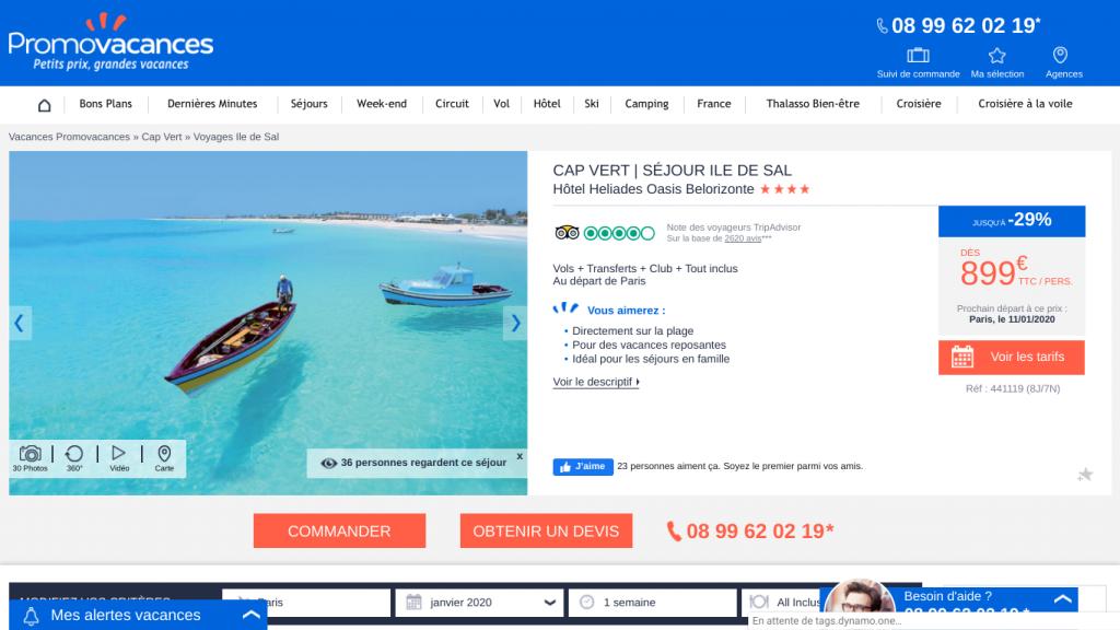 Offre promo voyage tout compris au Cap Vert avec promovacances. Séjour d'une semaine dans un hôtel 5 étoiles sur l'île de Sal à 899 euros.