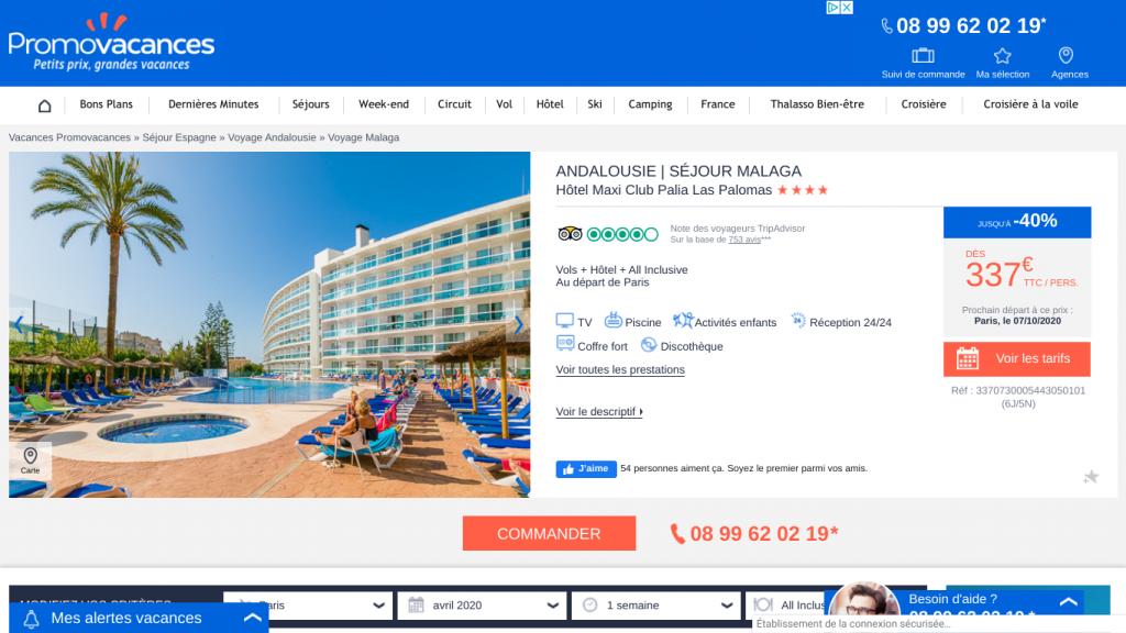 Voyage tout compris en Espagne à Malaga dans un hôtel 4 étoiles avec piscine. Offre promo séjour pas cher en Espagne 337 € en pension complète all inclusive.