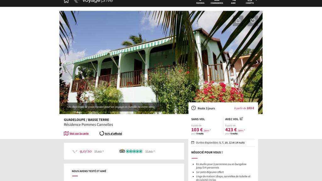 Vente flash pour un voyage en Guadeloupe avec Voyage privé. Une vente privée  qui inclus vol + hôtel (bungalow) en Guadeloupe .  Vente privée pour un voyage pas cher 423€ vol + hôtel , hébergement simple: 103€.