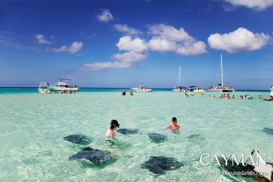 Iles Caïmans : croisière et excursion pour nager avec les raies à la plage.