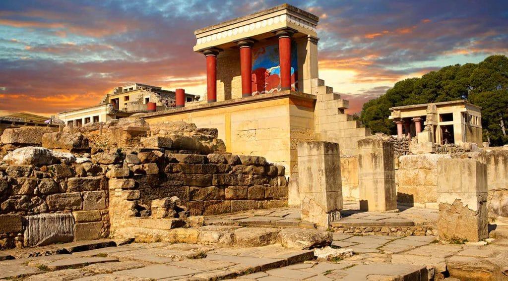 Palais de Cnossos dans l'île grecque de Crète. Site archéologique en Grèce.