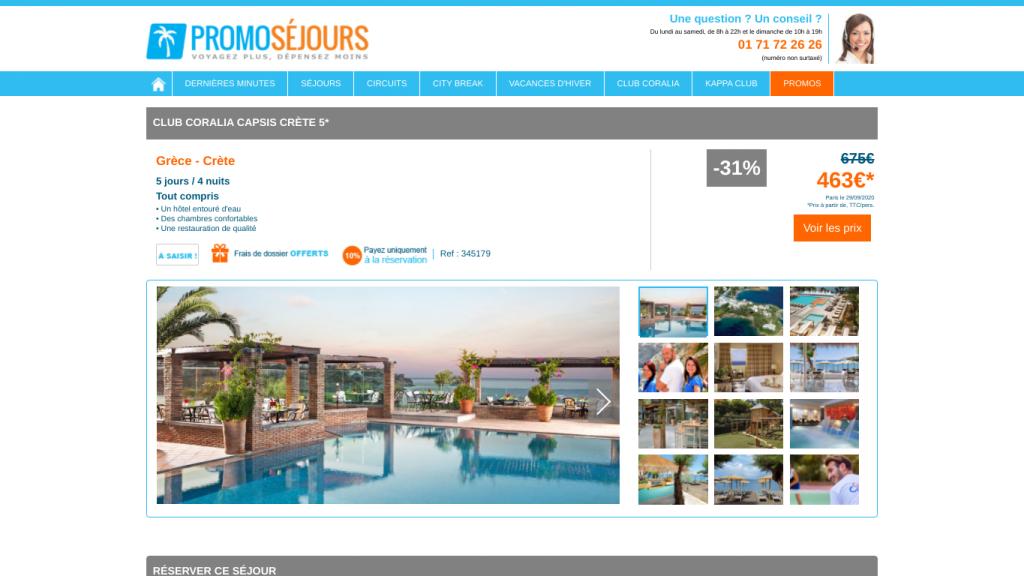 Voyage en Grèce dans le club de vacances Coralia en formule tout compris en Crète.  Promo pour un séjour d'une semaine pas cheravec réduction de 31% + paiement en plusieurs fois : 4 fois cb.