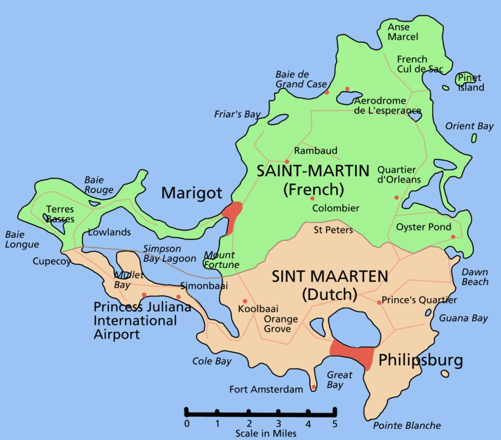 Carte de Saint Martin aux Antilles : partie française au nord et partie néerlandaise au sud .