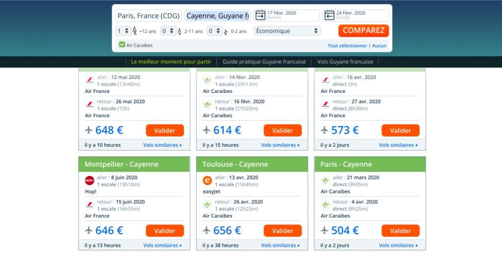 Comparateur de prix Liligo pour des billets d'avion discount Guyane pas cher . Offre promo pour des vols au départ de  Lyon, Paris, Montpellier, Toulouse vers Cayenne .