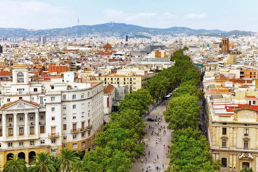 Vue aérienne de la rue la plus visitée de  Barcelone : Ramblas .