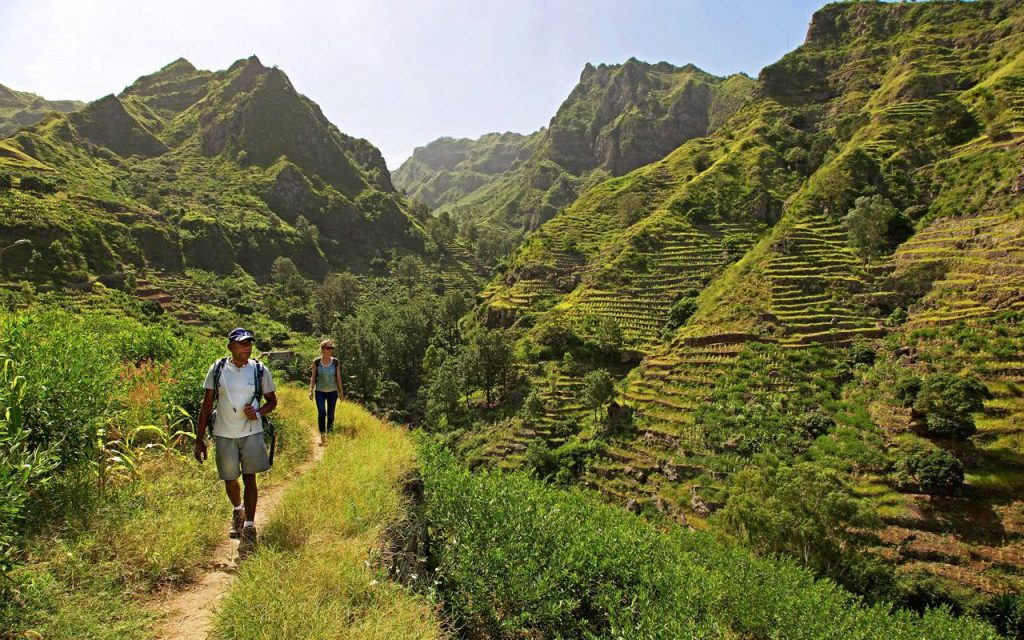 Paysage à visiter au Cap Vert : Santo Antao , colline, forêt ,montagne , parc naturel .