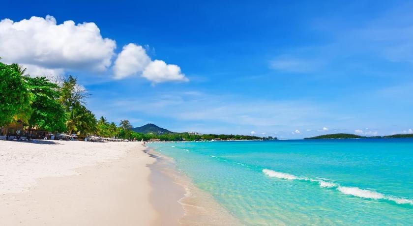 Partir en  Thaïlande et visiter les belles plages de Koh Samui  . Vastes plages de sable blanc et vagues bleues .
