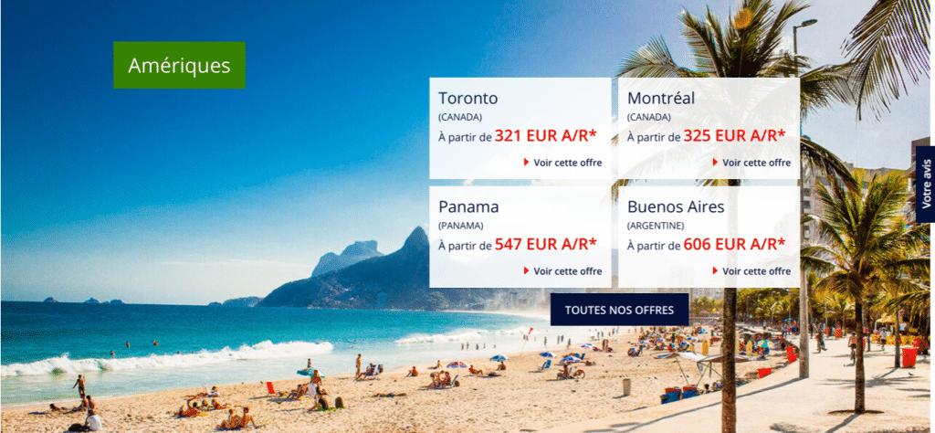 Offre Voyage Air France Amérique  . Promotion pour des  vols Toronto , Montréal, Panama , Buenos Aires .