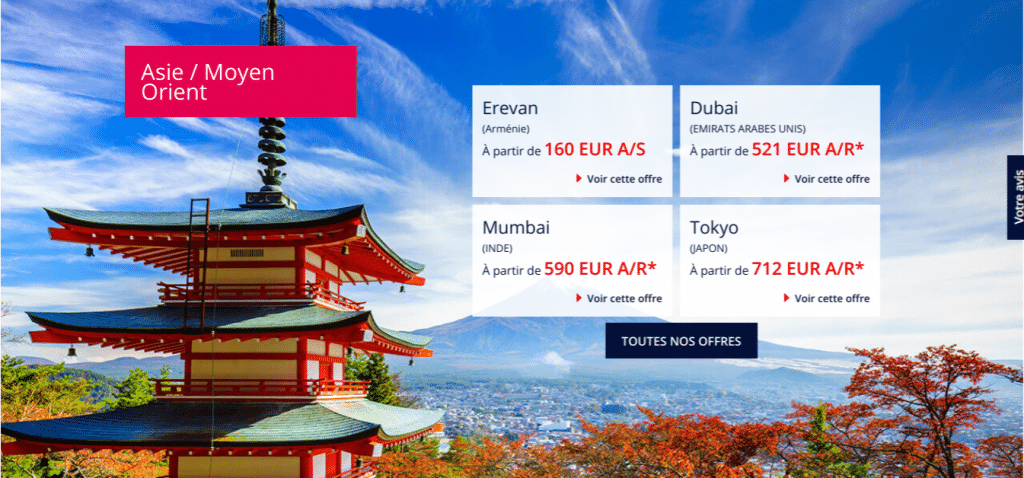 Des vols pas chers vers l'Asie : Erevan, Dubaï , Mumbai, Tokyo .