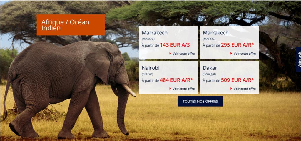 Offre promo Air France vers l'Afrique : billet d'avion discount Marrakech, Nairobi, Dakar .