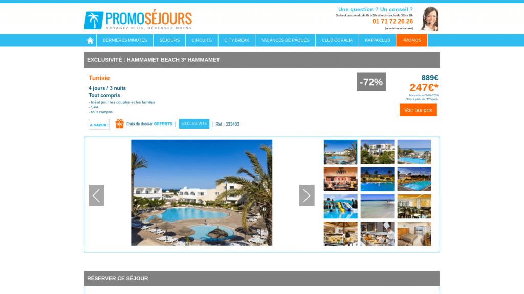 Séjour en Tunisie de 4 jours et 3 nuits en formule tout inclus à Hammamet à moins de 300 euros.