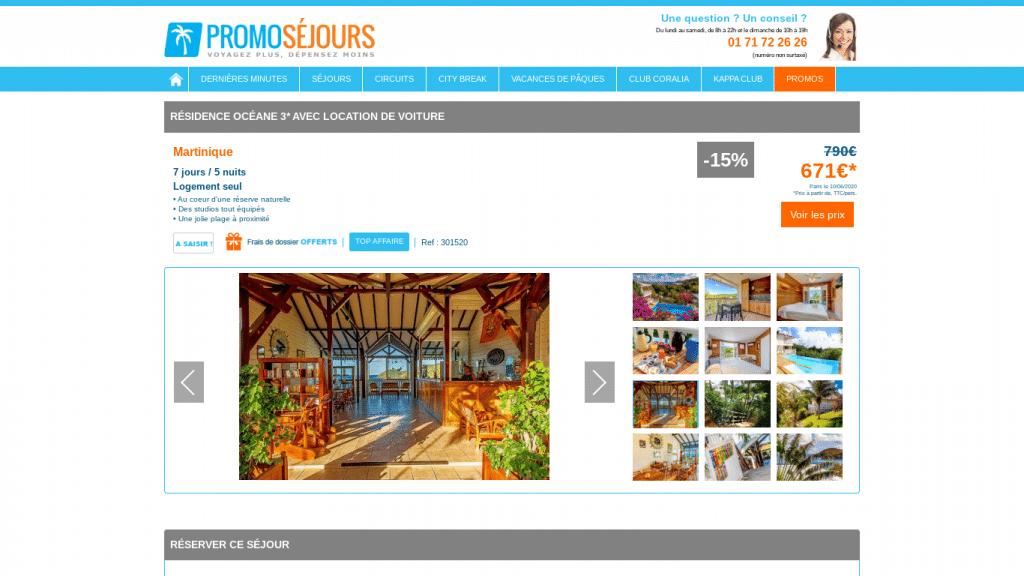Offre promotionnelle pour un séjour en Martinique avec promoséjours . Voyage de 7 jours et 5 nuits en Martinique avec location de voiture et paiement en 4 fois avec CB .