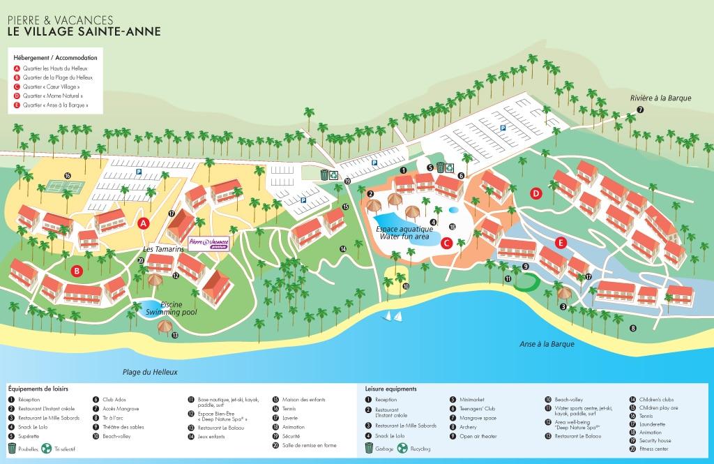 Plan/Carte du Village Pierre et Vacances Sainte Anne en Guadeloupe : plan de l'emplacement des locations de vacances
