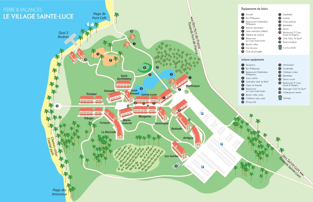 Carte / Plan Pierre et Vacances Sainte Luce en Martinique : plan de l'emplacement des locations de vacances