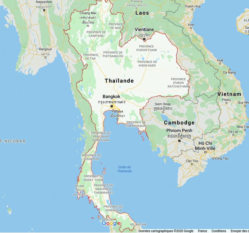 Carte de Thaïlande : les lieux à visiter et ce qu'il faut faire et voir .