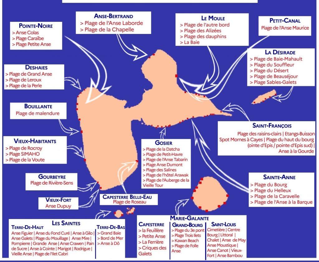 Carte des plages de Guadeloupe