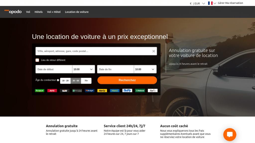 Meilleur comparateur de prix pour la location de voiture : Opodo