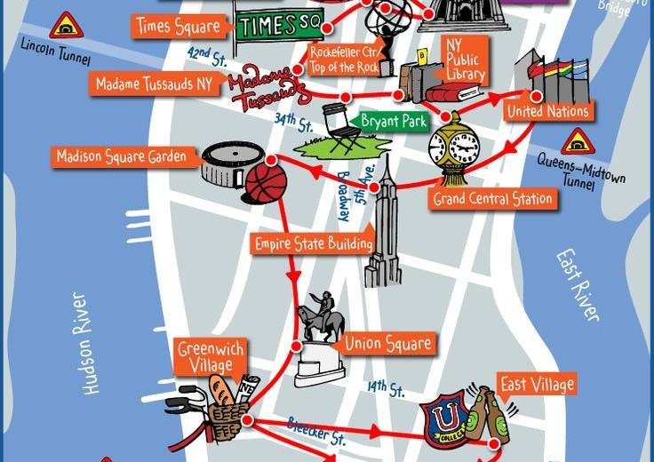 Carte touristique des monuments et lieux  touristique à New York .
