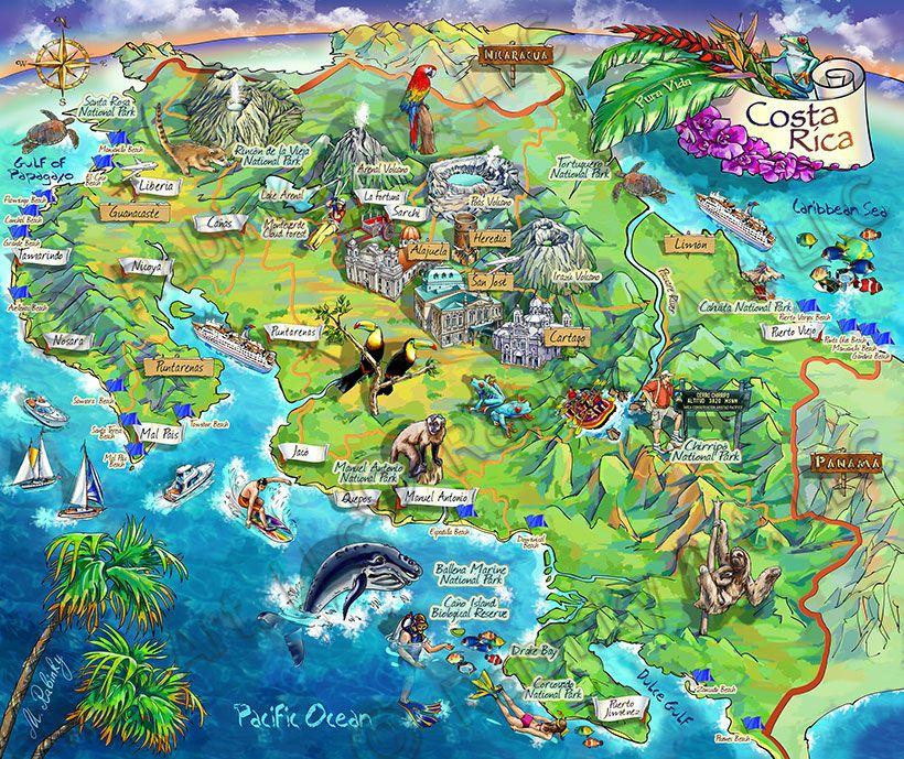 Carte Costa Rica tourisme : les endroit à visiter