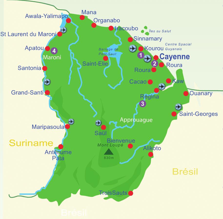 carte des lieux à visiter en Guyane