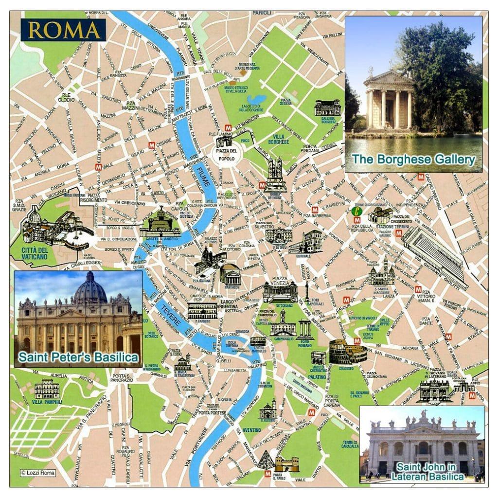 Carte touristiques de Rome: les lieux à voir et à visiter