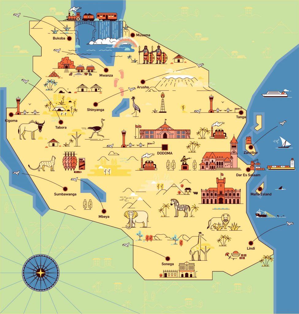 Carte des lieux à visiter en Tanzanie