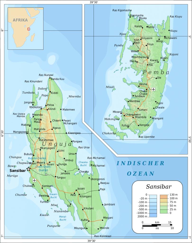 Carte de l'archipel de Zanzibar :Unguja et Pemba